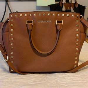Michael Kors camel and gold studded large tote